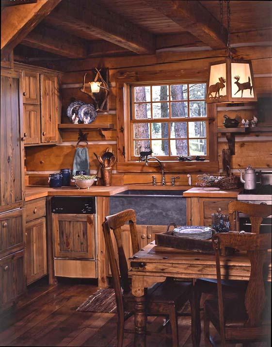 6 log cabin kitchen 906