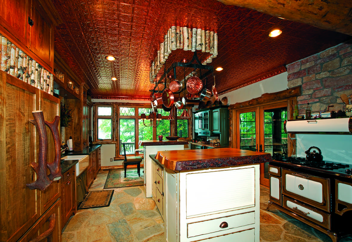 Kitchen in lodge-style log home