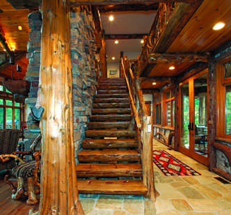 Crafted Stairs in lodge-style log home