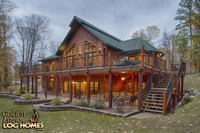 Golden eagle log homes inc for Timber frame hybrid house plans