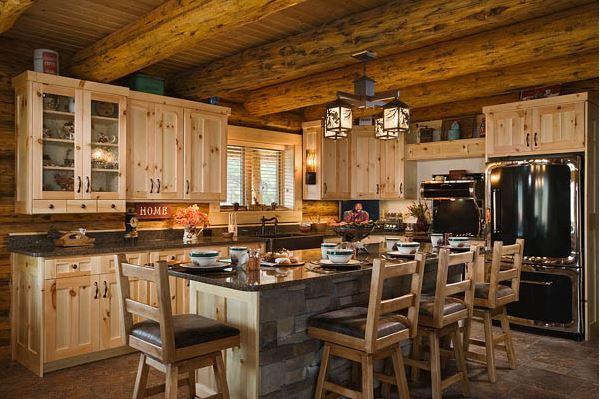 Montana log homes for Small log home kitchens
