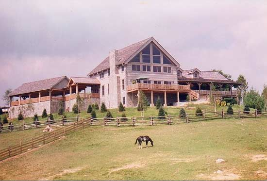 old-virginia-hand-hewn-log-home-with-horse