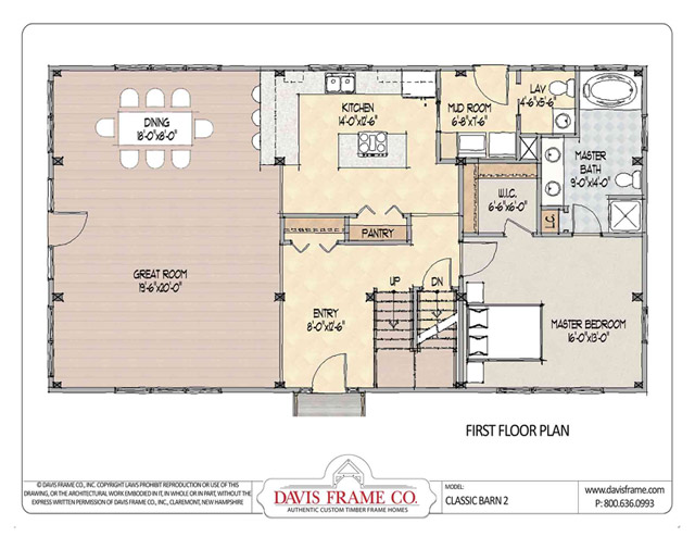 Classic barn 2 timber plan by davis frame co for Classic homes floor plans