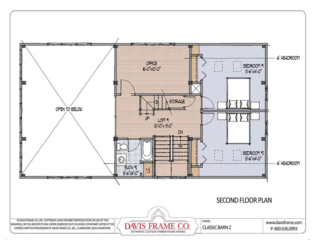 Classic barn 2 timber plan by davis frame co for Timber frame barn home plans