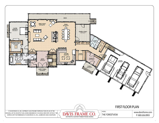 Forest view timber home plan by davis frame co for Timber frame farmhouse plans