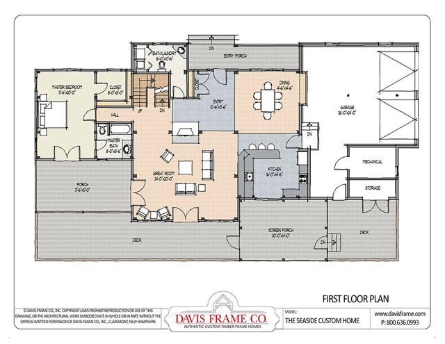 Seaside custom home by davis frame co for Davis homes floor plans