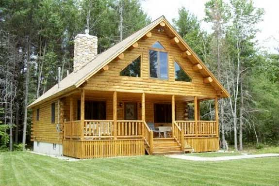 Custom 00 754 log cabin plan by katahdin cedar log homes for Unique log home floor plans