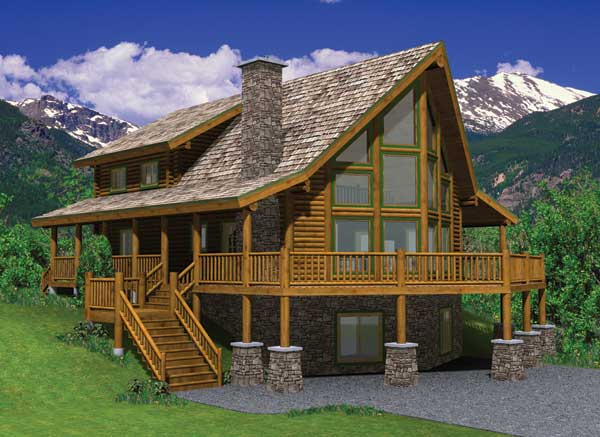 Hillside log home plan for Hillside home designs