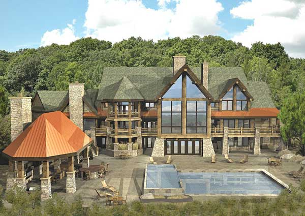 Kensington luxury lodge floor plan by wisconsin log homes Large estate home plans