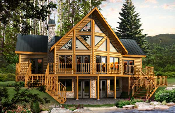 Dakota log home plan by timber block for 2 bedroom log cabin with loft