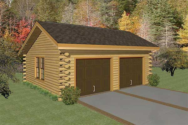 Two Car Garage Log Home Plan