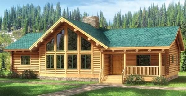 Fall river log home plan for Single story log cabin homes