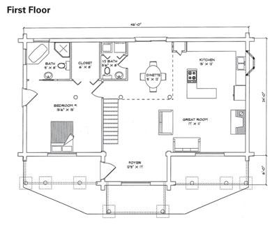 Rosewood Log Home Plan