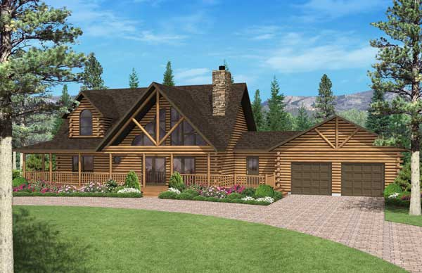 Big timber log home plan by golden eagle log homes for Timber log home plans
