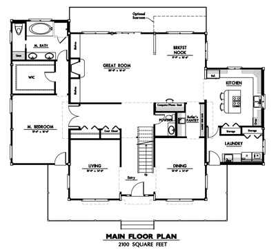 Country ranch 2990 log home plan for Country log home plans