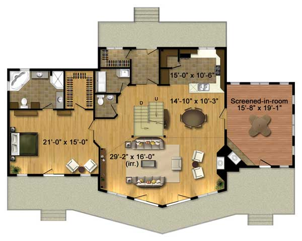 Denver Log Home Plan By Timber Block Mywoodhome Com