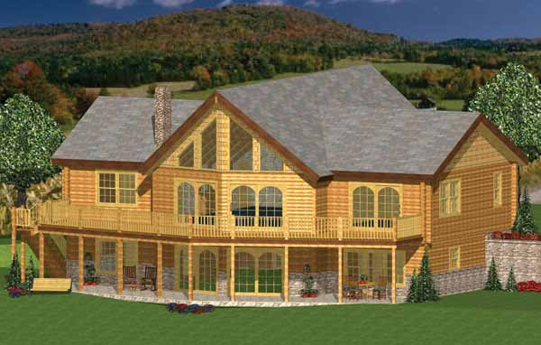 Grand lake house plan by hilltop log timber homes for Hilltop house plans
