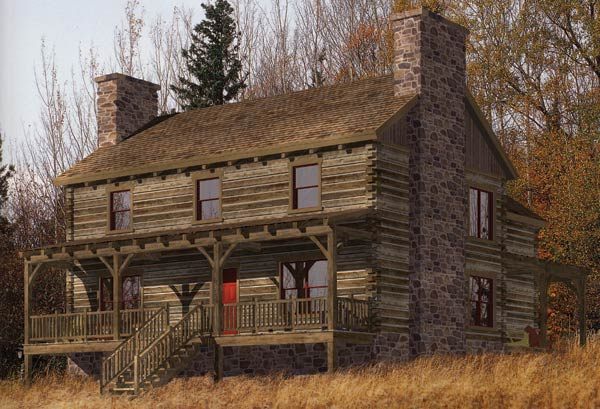 Stone creek log home plan by precisioncraft log timber for Stone and log homes