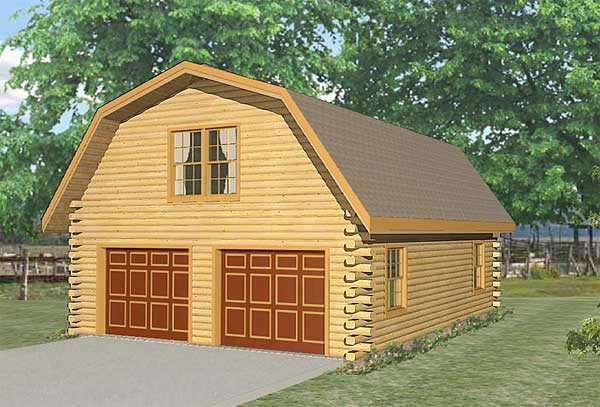 Live in garage log home plan for Log garage plans