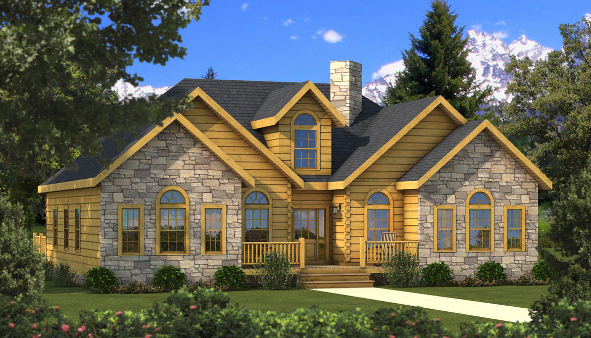 Halifax Log Home Plan by Southland Log Homes  MyWoodHomecom - 2 Story House Plans With Wrap Around Porch