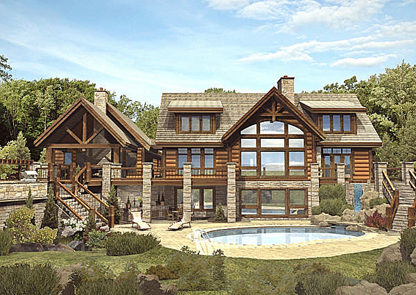 Luxury log home floor plans Luxury log home plans