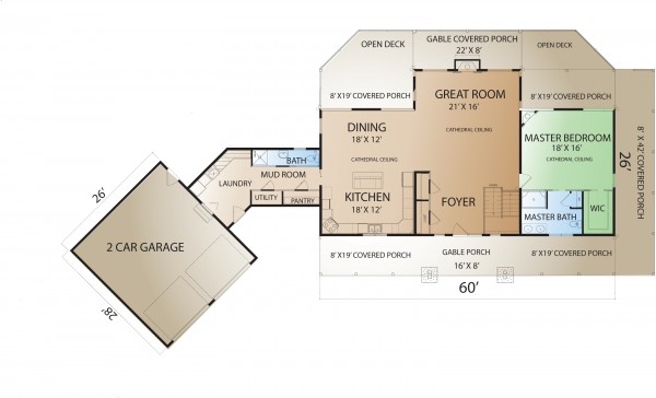 Prairie ranch home plan for House plans with garage attached by breezeway