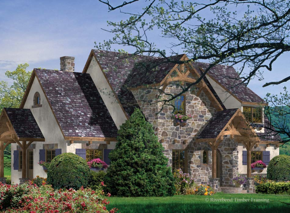 Greenbrier home plan by riverbend timber framing for Timberframe home plans