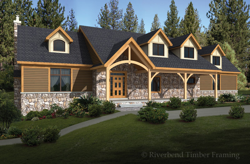 Stone ridge home plan by riverbend timber framing for Timber frame home designs