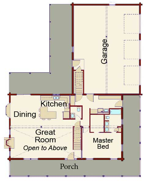 New castle log cabin plan by real log homes for Real log homes floor plans
