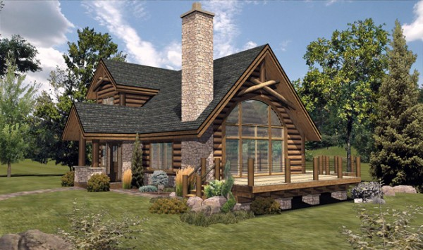 Bay view iii log home floor plan by wisconsin log homes for Two storey log cabins for sale