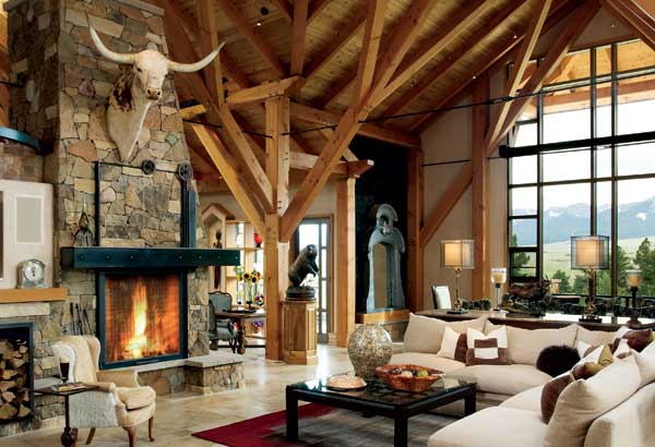 Mountain log homes archives for Ranch style timber frame homes