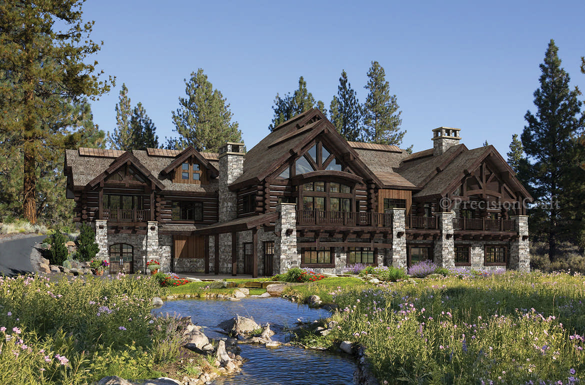 Luxury log home floor plans for Log cabin lodge plans