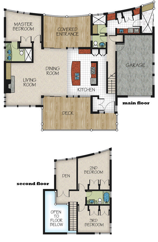 Nestled retreat floor plan by canadian timber frames ltd for A frame house plans canada