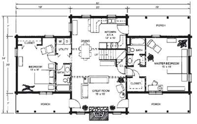 Featured log home plans merrylog brentwood log homes for Free log cabin floor plans