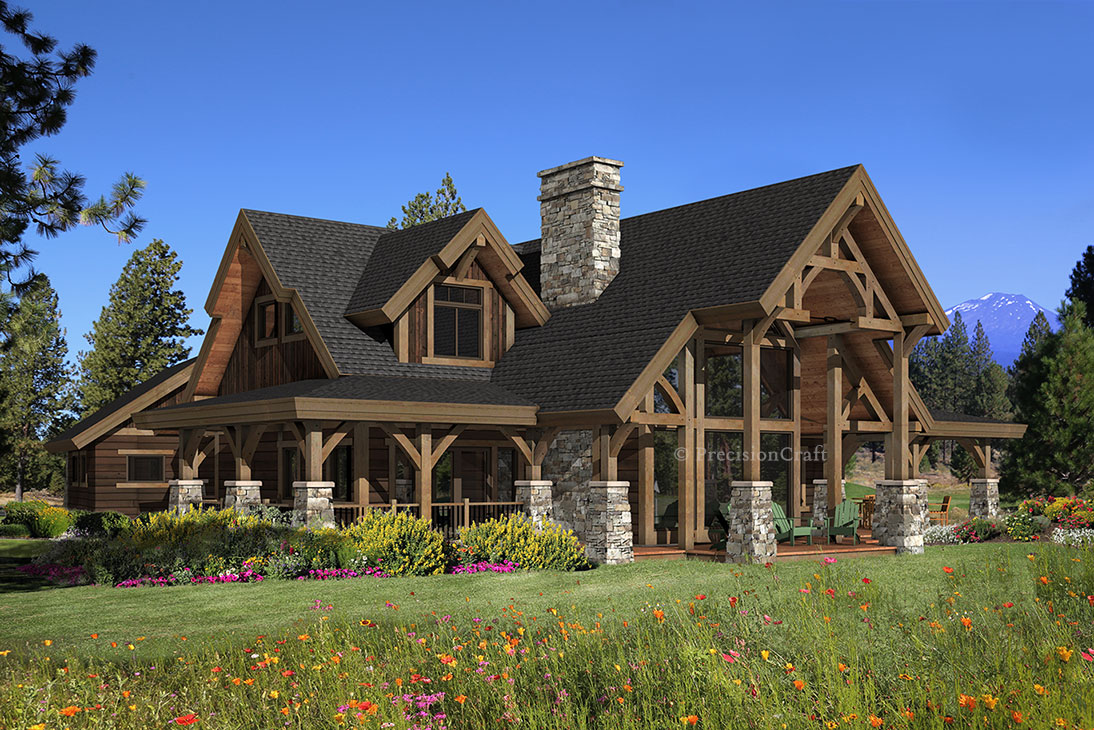 Hawksbury timber home plan by precisioncraft log timber Stone and wood house plans