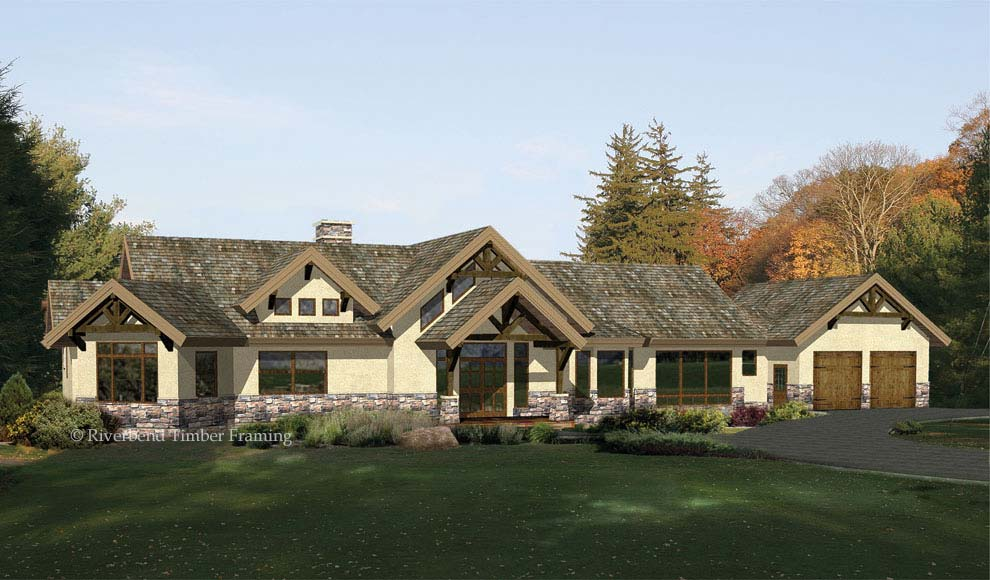Pheasant ridge timber plan by riverbend timber framing for Ranch timber frame plans