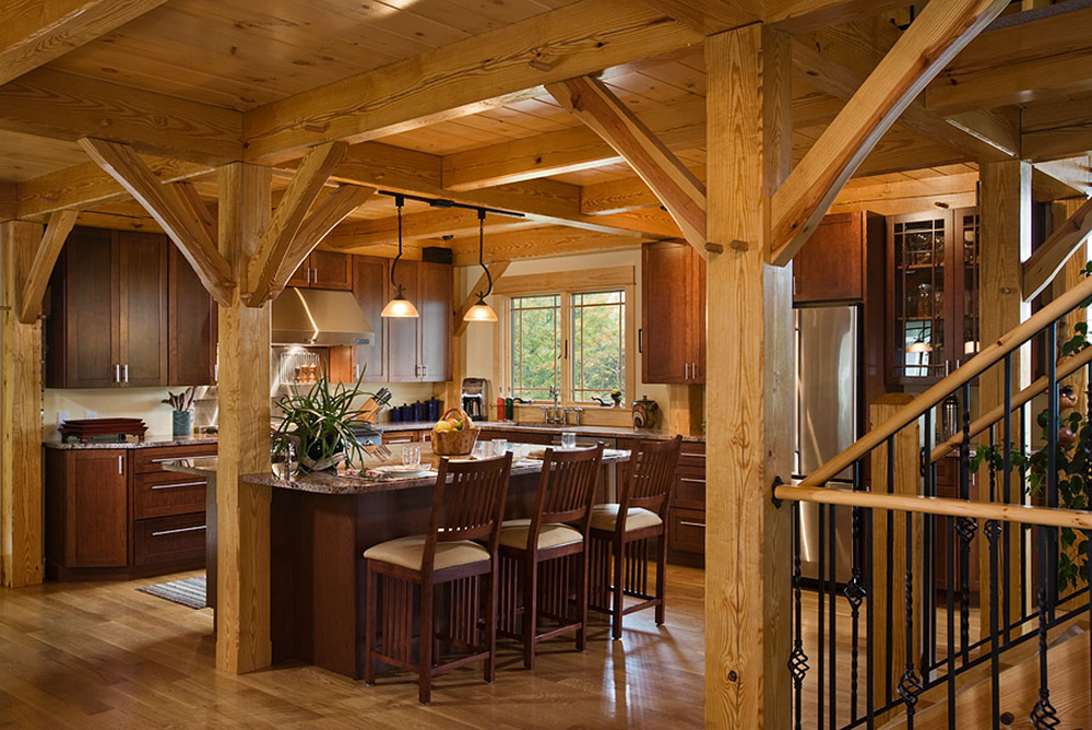The lake view log home plan by woodhouse the timber frame for Timber home designs
