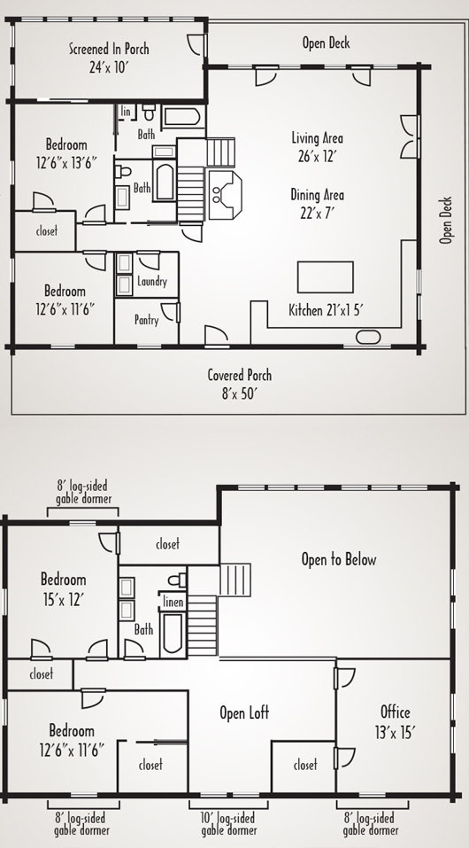 Bear rock log home plan by coventry log homes inc for Coventry homes floor plans