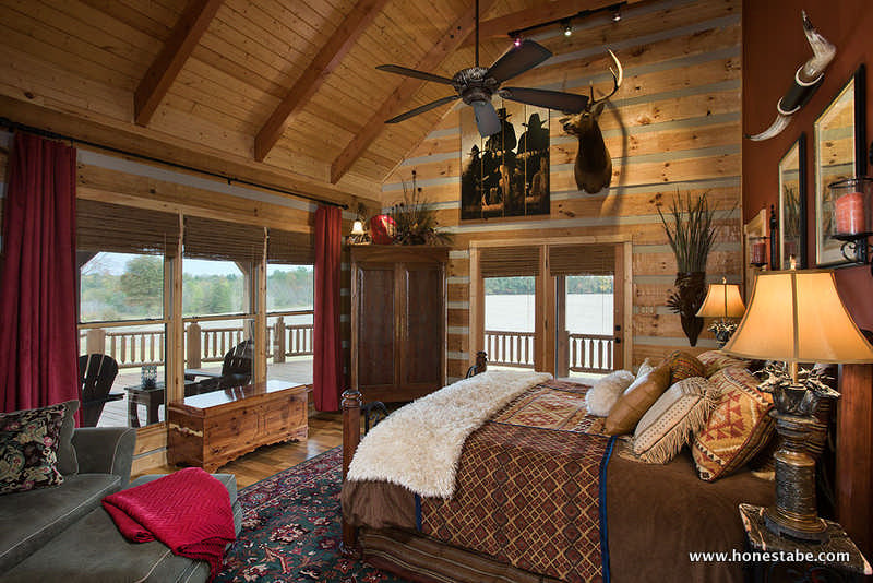 Desocio log residence by honest abe log homes inc for Log home master bedrooms