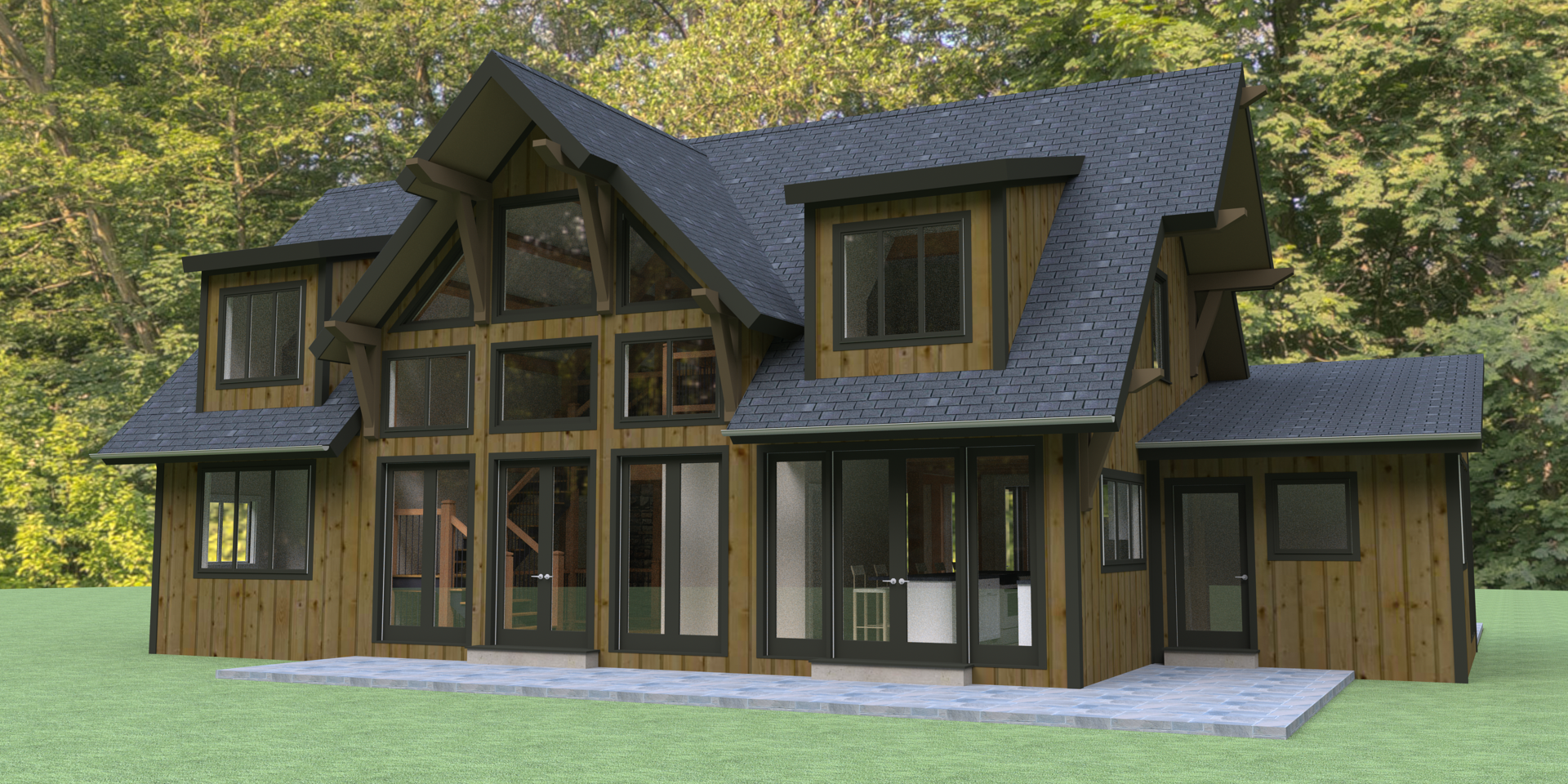 Hybrid timber frame house plans for Timber frame ranch home plans