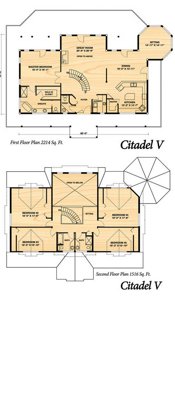Citadel 5 by true north log homes for True homes floor plans