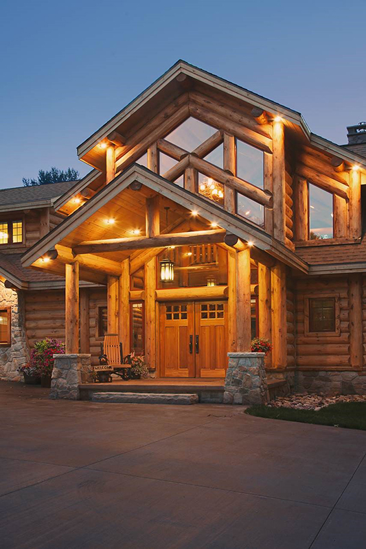 Jackson ii log home floor plan from wisconsin log homes for Hybrid timber frame home plans