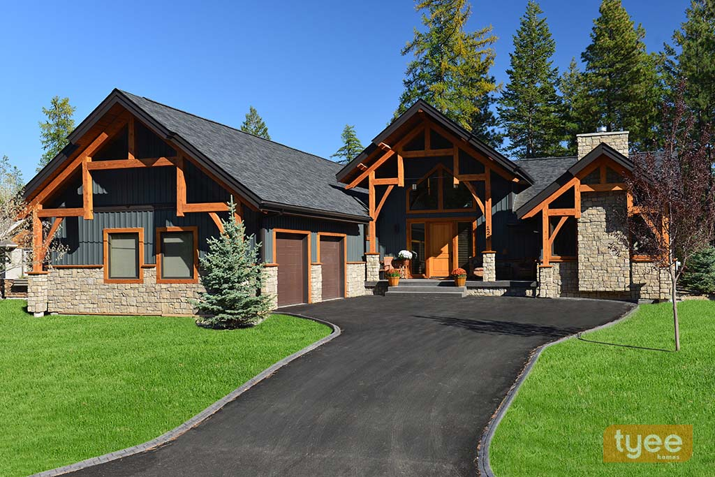 Tyee log timber for Timber frame ranch home plans
