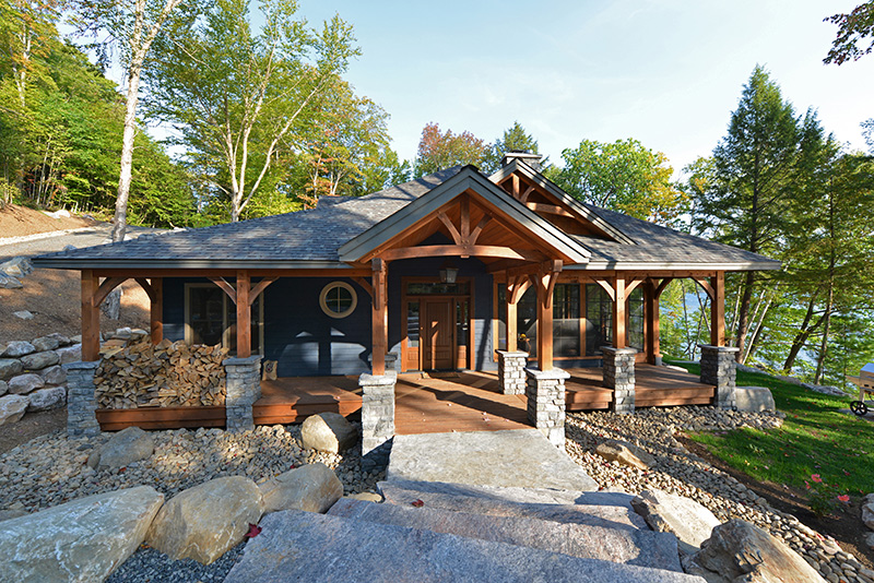 Cozy inlet timber frame floor plan by canadian timber for Canadian cabin plans