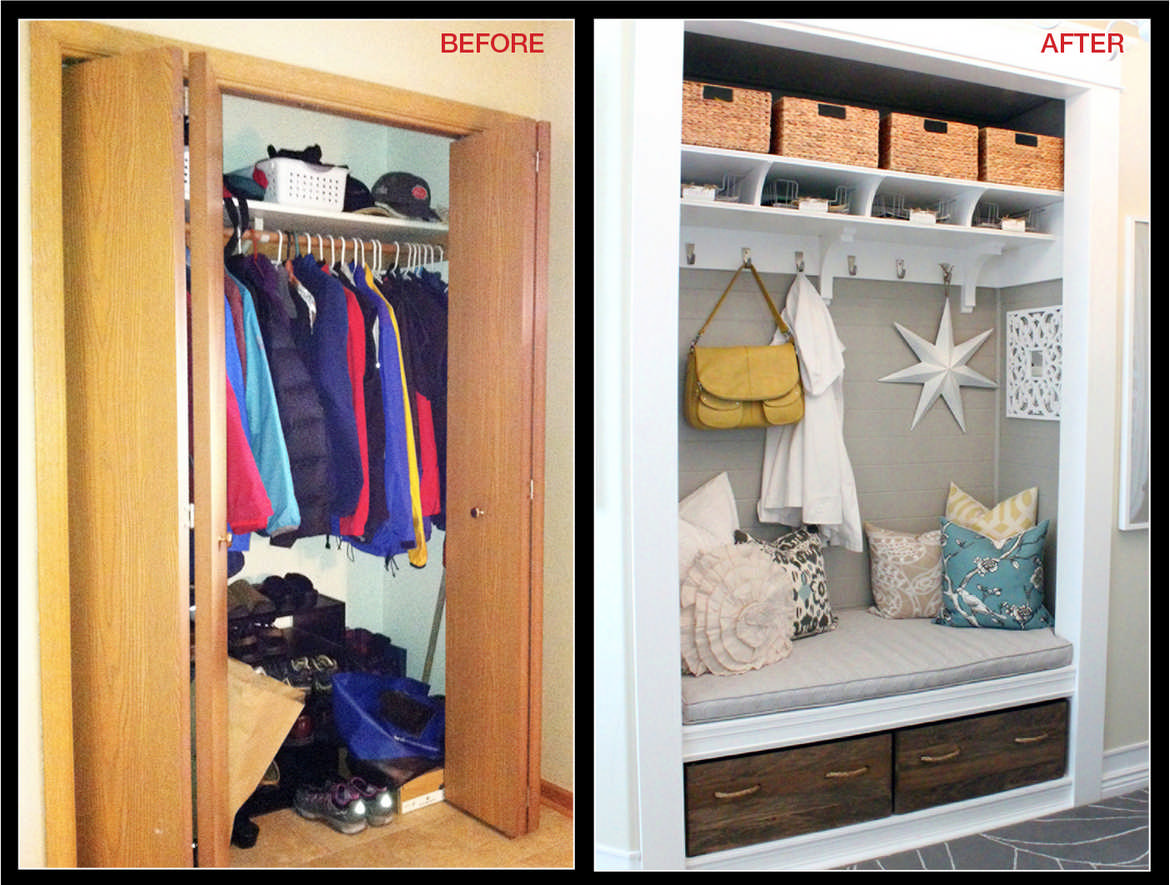 Storage Solutions Entryway Closet Makeover