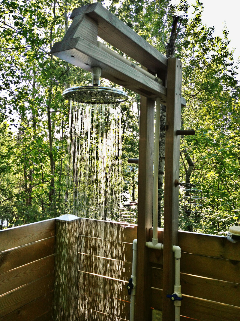 A TOUCH OF LUXURY U2013 An Outdoor Shower Doesnu0027t Have To Be So Rustic. This  One Has Hot And Cold Running Water And A Rain Style Showerhead.