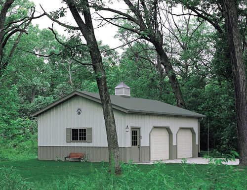 The garage of steel for Morton building cabin