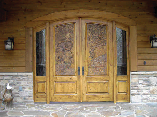 Model TVM-1565--C8 hand-carved wood panel door w/ Bull Elk Timber Valley Millwork .timbervalleymillwork.com. & Gorgeous Entry Doors