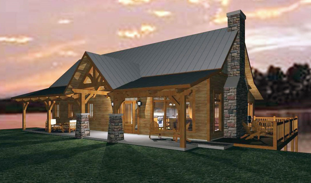 Home plans for a timber frame family cabin for Timber frame cabin plans