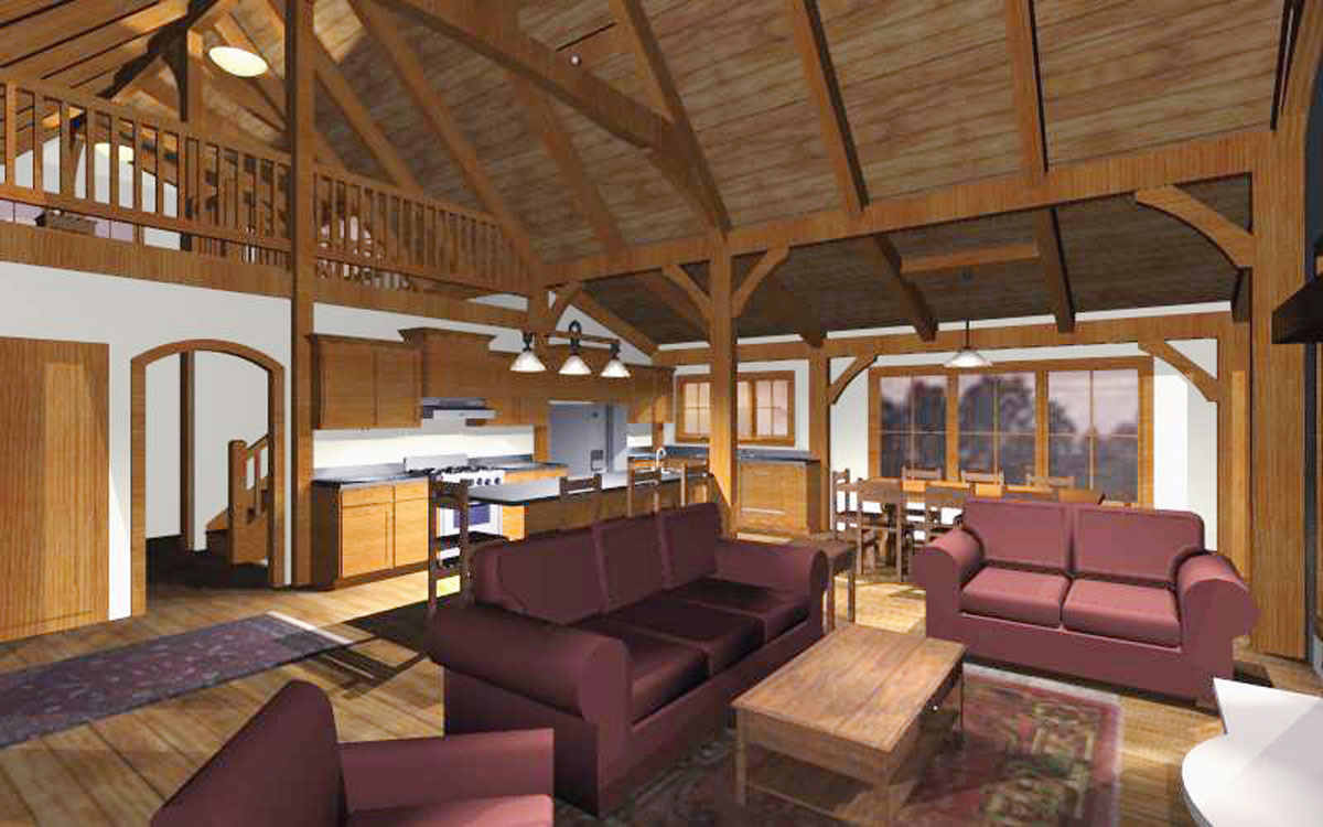 Home plans for a timber frame family cabin for Open floor plan cabin